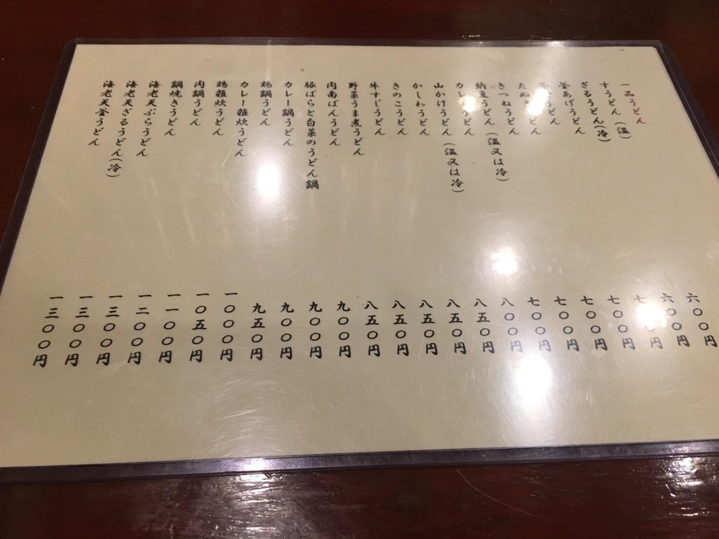 【大塚駅】関西風手打ちうどんチュルッとしたいよね「ふじ誠」のメニュー2