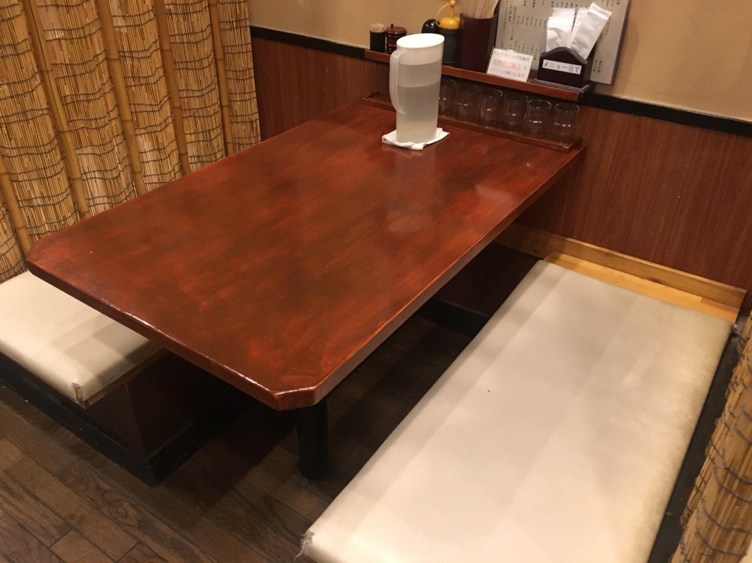 【大塚駅】関西風手打ちうどんチュルッとしたいよね「ふじ誠」のテーブル