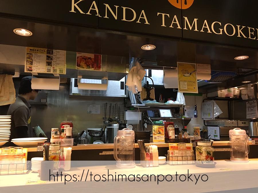 【池袋駅】気軽に食べるファストフード型オムライス「神田たまごけん」の店内