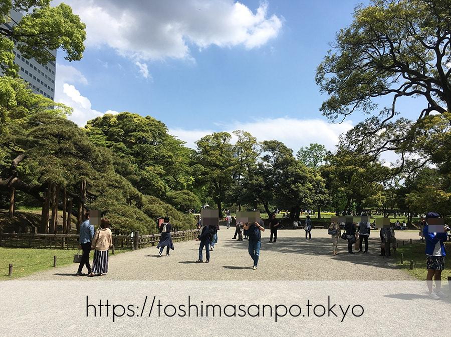 【汐留駅】水上バスにも乗れる!東京湾から繋がる江戸時代の広大な庭園「浜離宮恩賜庭園」の風情。の浜離宮恩賜庭園に入園してすぐの眺め
