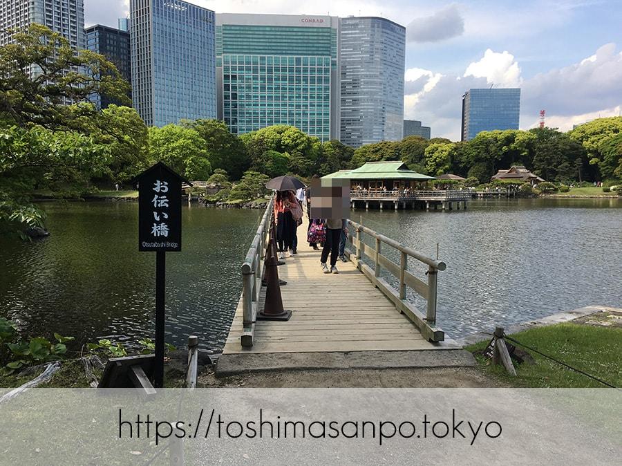 【汐留駅】水上バスにも乗れる!東京湾から繋がる江戸時代の広大な庭園「浜離宮恩賜庭園」の風情。の浜離宮恩賜庭園のお伝い橋